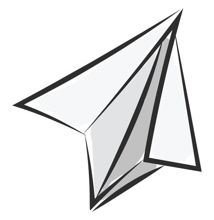A sharp toy plane made out of paper vector color drawing or illustration