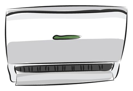 Clipart of an air conditioner with a green color button is all set ready to remove the heat and moisture from the interior of an occupied space  vector  color drawing or illustration