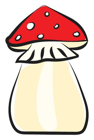 A highly regarded edible mushroom with a distinctive orange cap  rose gills and black partial veil  vector  color drawing or illustration Illustration