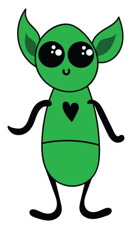 Cartoon of a cute little green-colored alien with big ears oval in shape  big eyes and a black heart printed in the costume looks sad while standing  vector  color drawing or illustration
