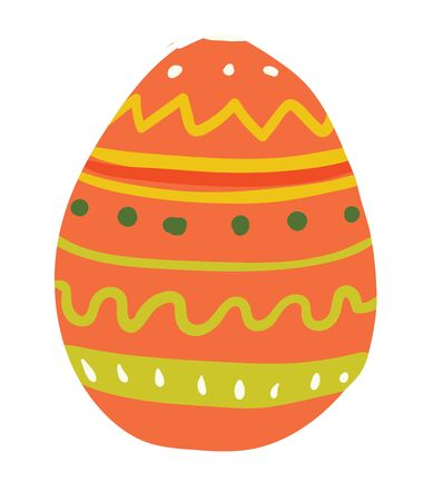 An Easter egg in orange color with designs on it vector color drawing or illustration