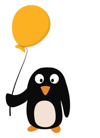 A small cute penguin in black color with a yellow balloon in its hand vector color drawing or illustration Illusztráció