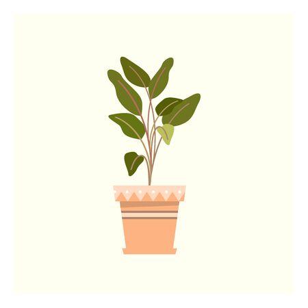 A fresh little green plant in orange pot vector color drawing or illustration Ilustração