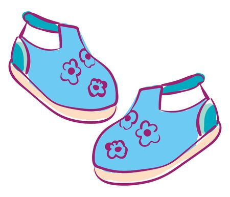 Clipart of a pair of babys shoes blue in color with white-colored elastic straps and printed with beautiful purple-colored floral designs and a rose base  vector  color drawing or illustration Stock Illustratie