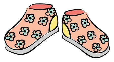 A pair of baby's shoes peach in color printed with white polka designs over yellow background and beautiful blue-colored floral designs with a white sole  vector  color drawing or illustration