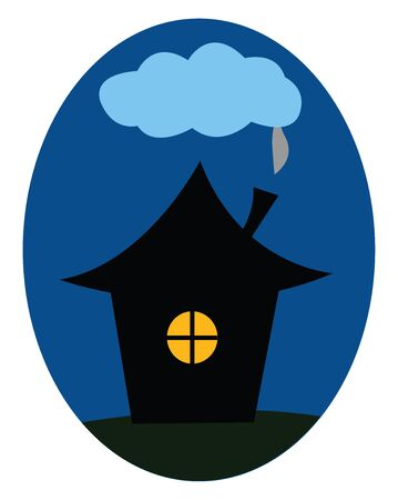 Clipart of a thatched house with fumes coming out of the chimney and reaching the clouds of the sky at night over blue background  vector  color drawing or illustration