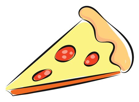 A drawing of a triangular slice of pizza with a thick crust  double cheese  pepperoni and mushrooms  vector  color drawing or illustration Banque d'images - 132665222