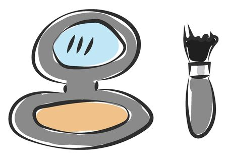 A handy round powder container with mirror and a brush vector color drawing or illustration