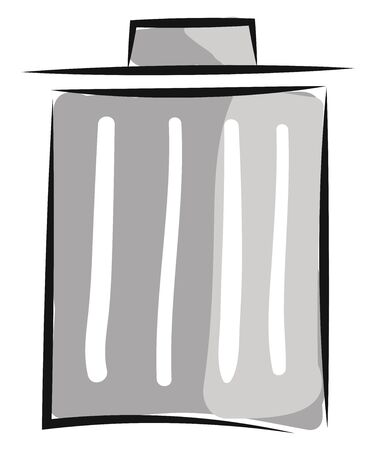 Painting of a grey bin with white stripes provided with a lid for household refuse  vector  color drawing or illustration