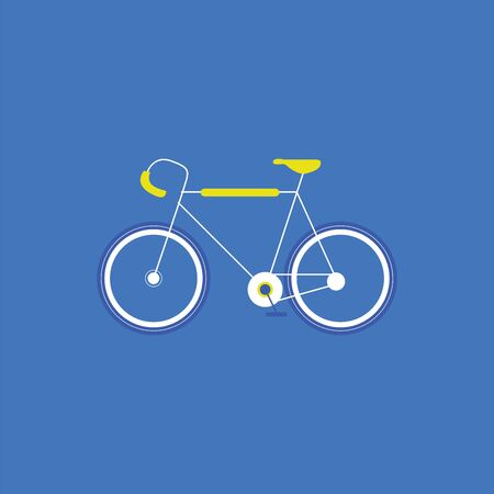 Portrait of a cycle with a yellow-colored frame  handle and seat  blue pedals set over blue background viewed from the side  vector  color drawing or illustration