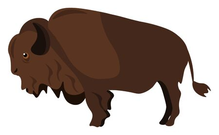 Clipart of a brown bison facing down set on isolated white background viewed from the side  vector  color drawing or illustration Illustration