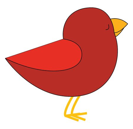 Cartoon red bird with dark red plumage  yellow feet  and beak  is standing with its eyes closed  vector  color drawing or illustration