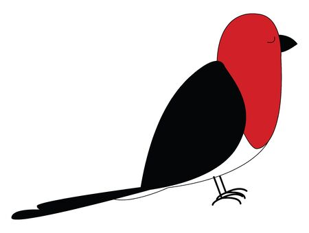 Cartoon red bird with black plumage  feet  and beak  is standing with its eyes closed  vector  color drawing or illustration Ilustração