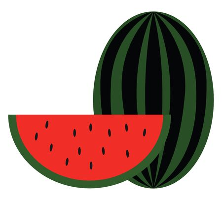 Clipart of a big watermelon and a slice of it with smooth green skin  red pulp  watery juice and black seeds exposed  vector  color drawing or illustration Ilustração