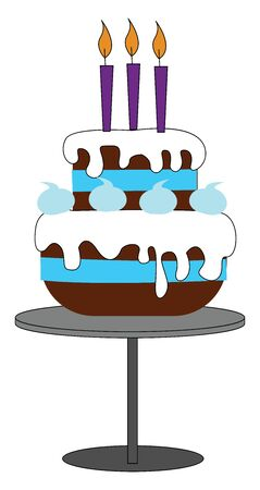Shades of brown fondant covering the amazing 3-tiered cake with white drippings and three glowing purple candles on top of it  vector  color drawing or illustration Illustration