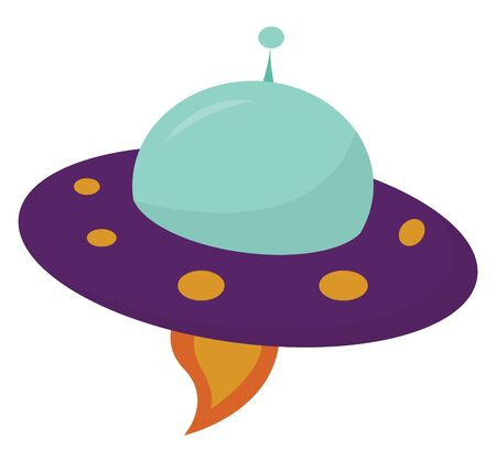A round purple spacesuit giving out fire flying high vector color drawing or illustration Ilustración de vector
