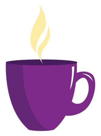A purple coffee cup with hot fuming coffee in it vector color drawing or illustration