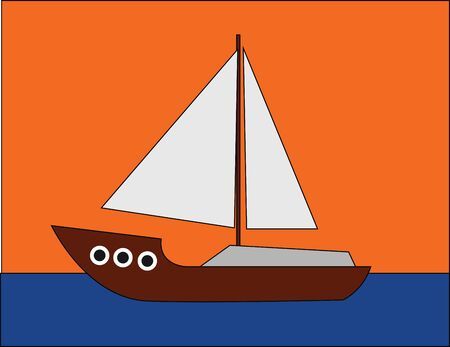 Portrait of a boat with brown stem and hull  white jib and mainsail  sails across the sea over an orange background  vector  color drawing or illustration