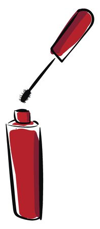 A little red bottle of mascara for eyes vector color drawing or illustration Illusztráció