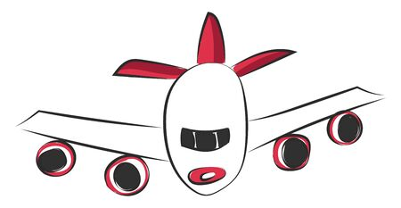 Front view of a huge flying passenger plane with big wings vector color drawing or illustration
