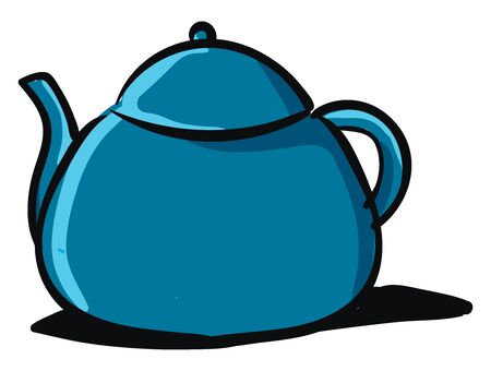 Clipart of a blue-colored kettle equipped with a lid  a spout  a handle to carry easily   vector  color drawing or illustration