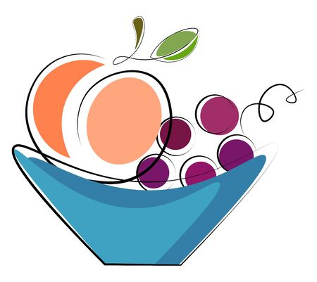 A blue plate with a lot of fruits in it vector color drawing or illustration Stock Illustratie