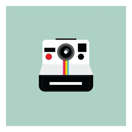 A modern looking camera in silver and black color vector color drawing or illustration