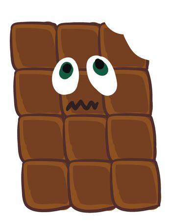 A bar of brown chocolate looking scared vector color drawing or illustration