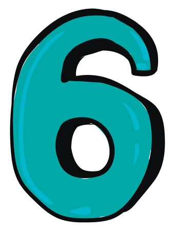 A blue-colored figurine with a black outline represents the number six or 6  vector  color drawing or illustration