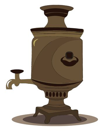 An ancient looking samovar with a tap to get hot water from it vector color drawing or illustration