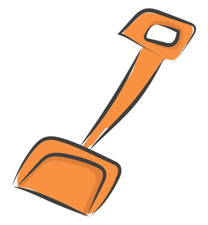 An orange scoop with a long handle vector color drawing or illustration