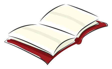 Portrait of an opened red book with a bookmark and blank pages  vector  color drawing or illustration