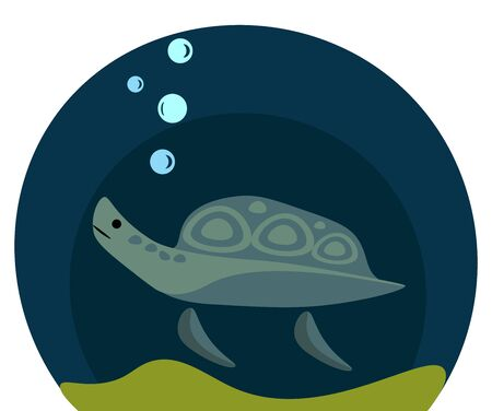 A blue sea turtle swimming in ocean leaving out bubbles vector color drawing or illustration