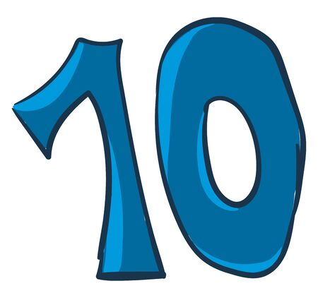 A blue-colored figurine with a black outline represents the number ten or 10  vector  color drawing or illustration