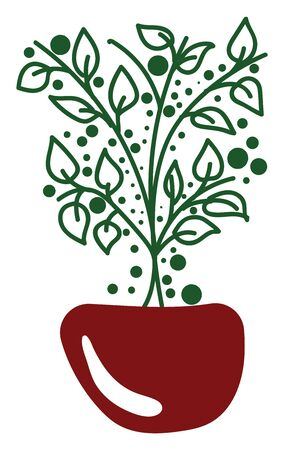 Portrait of a red bowl potted with a small plant of oval shaped leaves vector color drawing or illustration