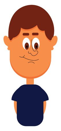 Funny-looking cartoon boy in a blue t-shirt with his eyes rolled down  hands close to the sides of his body has a smirk expression on his face  vector  color drawing or illustration Çizim