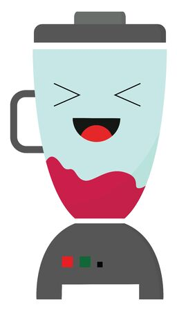 Emoji of a blender with its tongue stuck out smiles while red juice is blended   vector  color drawing or illustration