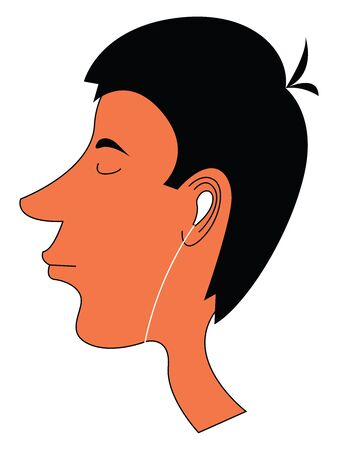 Cartoon skinny boy with a funny hairstyle with few strands of hair tied together at the center of his head and enjoying music from his earphones  vector  color drawing or illustration