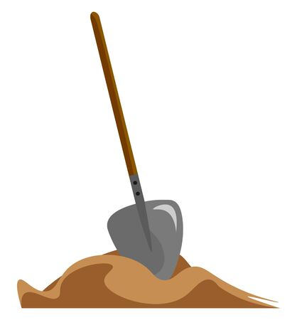 A big strong shovel with wooden handle resting on the sand vector color drawing or illustration