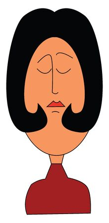 A woman in red dress with short hair whose eyes were closed vector color drawing or illustration