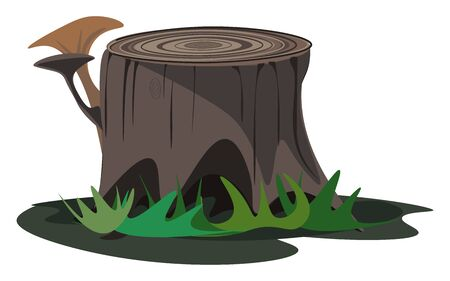 A tree stump of a big tree which is cut without mercy vector color drawing or illustration