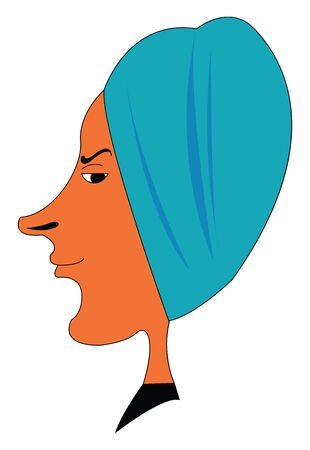 The side face of a skinny person in a black dress looks confused after a shower and head wrapped with a blue-colored towel  vector  color drawing or illustration