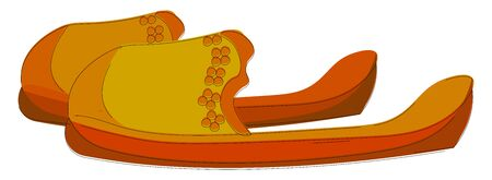 A big lengthy slipper in orange and yellow color vector color drawing or illustration
