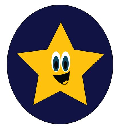 A big bright yellow star which is smiling in the dark sky vector color drawing or illustration