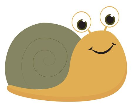 A cute snail in yellow and green color with two bright eyes vector color drawing or illustration Ilustrace