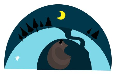 Clipart of the back pose of a brown bear in a den over a blue background with shades of blue  centered yellow moon and few tall trees  vector  color drawing or illustration