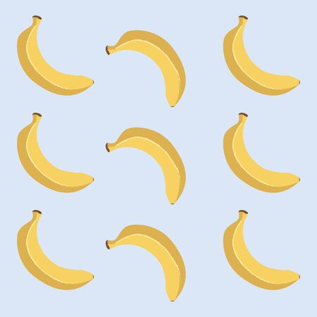 The pattern of nine yellow bananas arranged alternately in upright and inverted positions over blue background   vector  color drawing or illustration