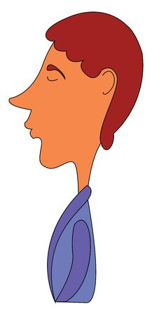 The side view of a man with a long nose dressed in purple-colored bathrobe intensely thinks about something while eyes closed  vector  color drawing or illustration Çizim