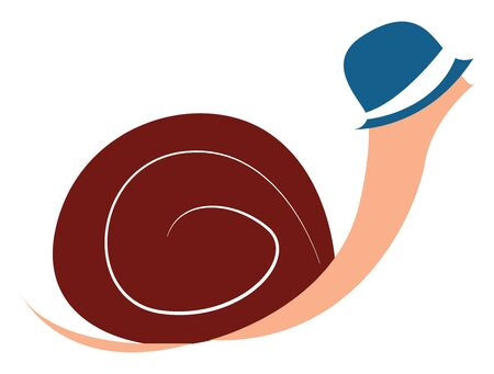 A big snail with a blue hat on it vector color drawing or illustration Ilustrace