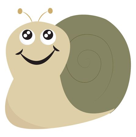 A snail in green color with a wide smile vector color drawing or illustration Ilustracja